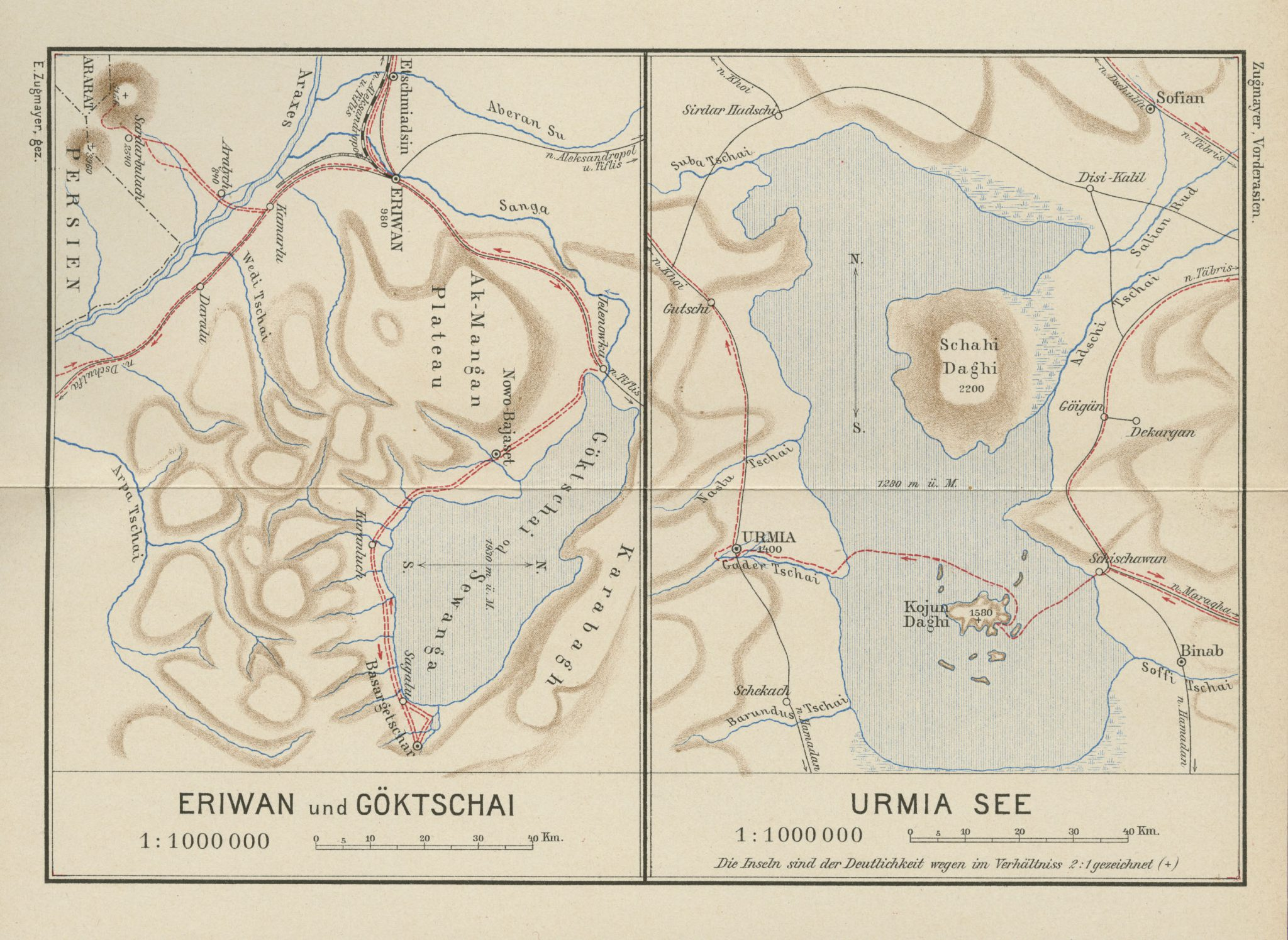 Map of Eriwan Yerevan and Göktscahi Sevan Lake; Lake Urmia 1905