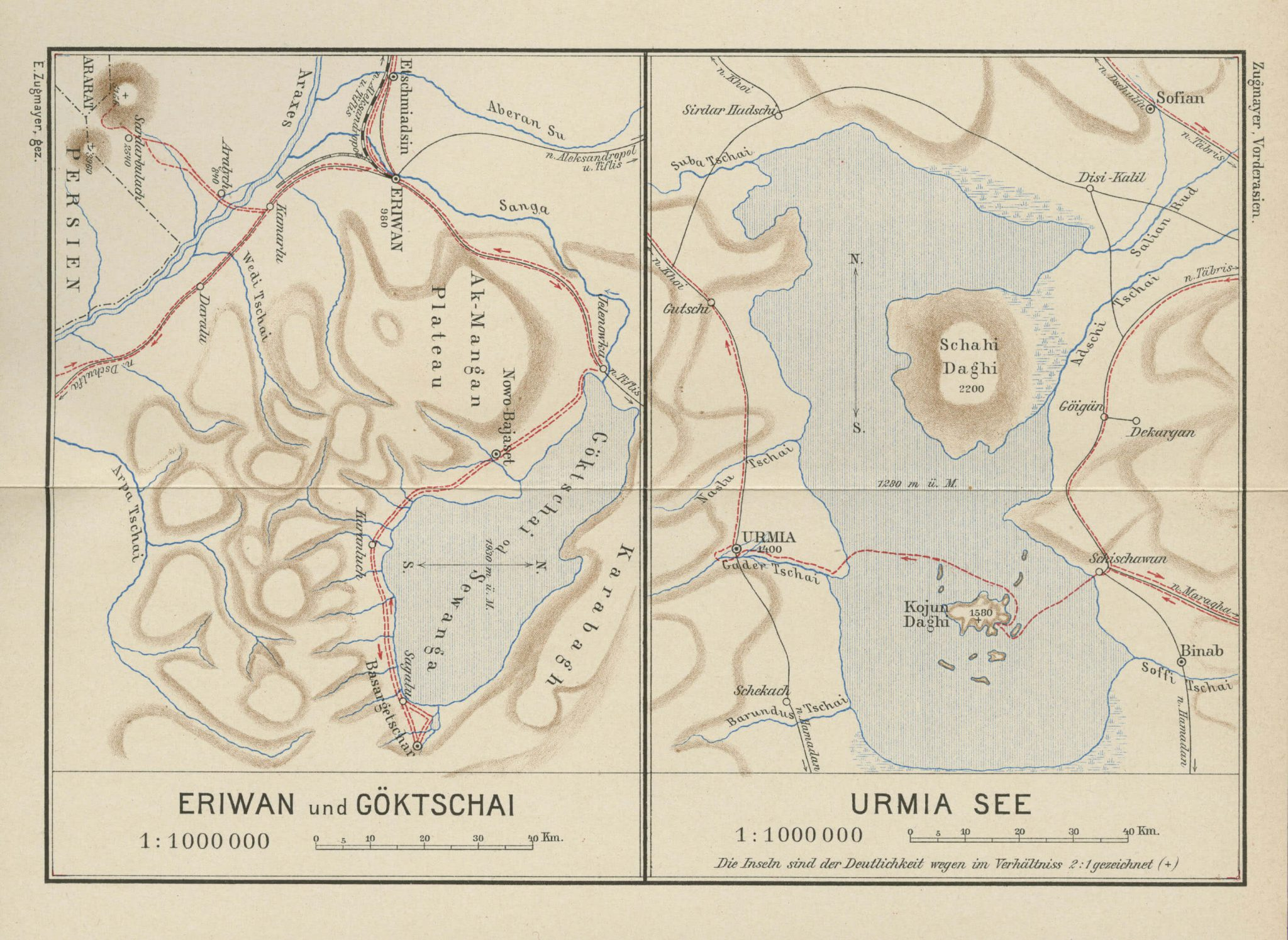 Map of Eriwan Yerevan and Göktscahi Sevan Lake ; Lake Urmia 1905