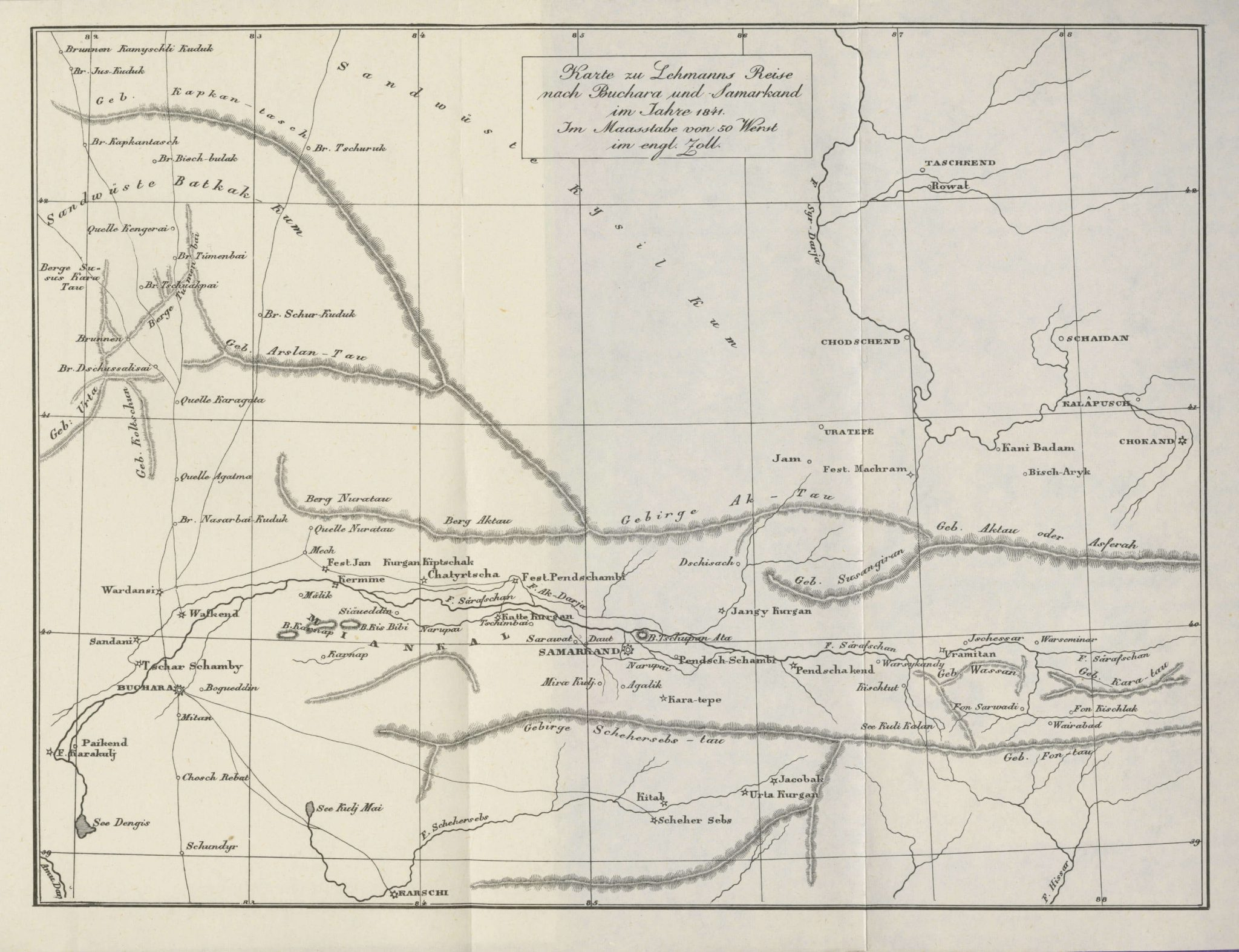 The travel route of Lehmanns to Bukhara and Samarkand in 1841