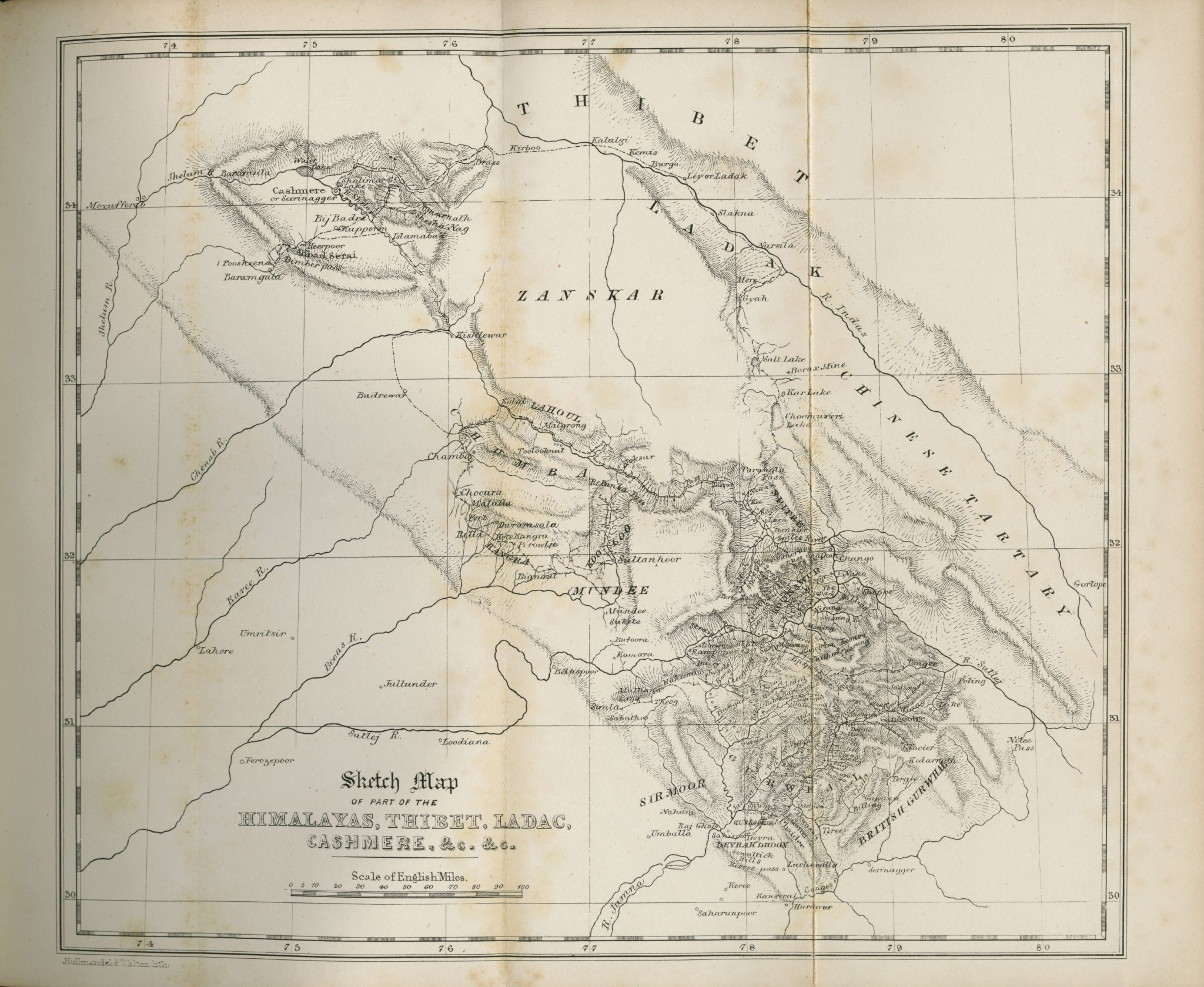 Sketch Map of part of the Himalayas, Thibet, Ladac, Cashmere, etc 1854