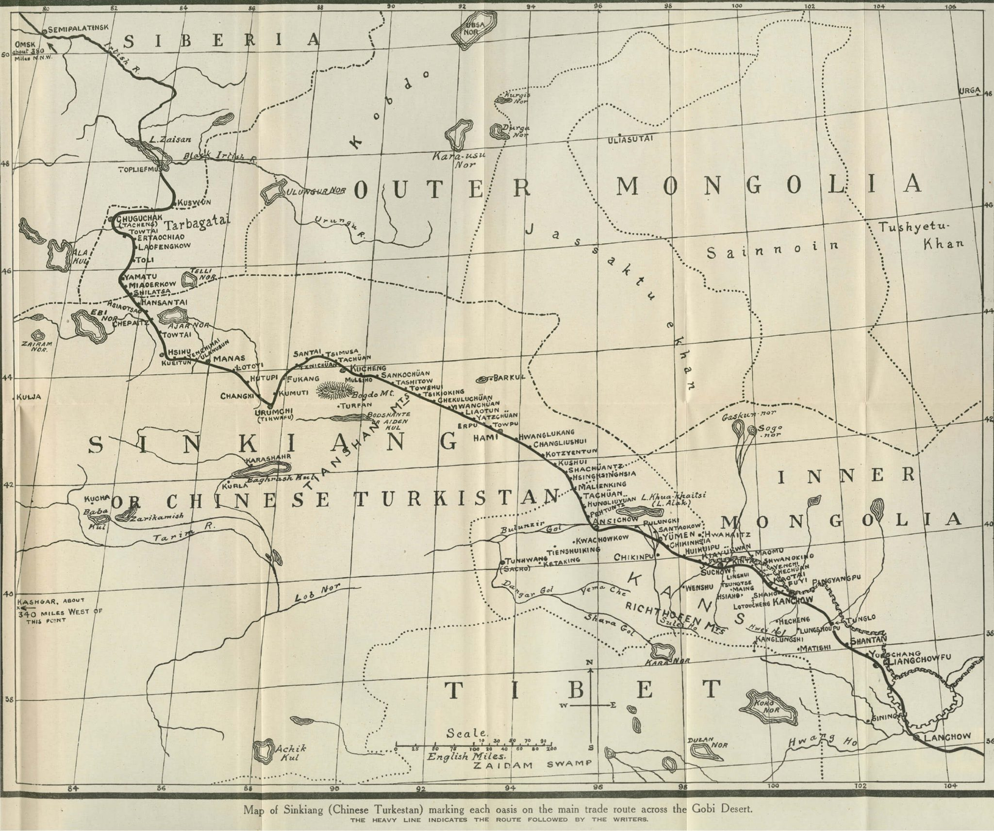 Map of Sinkiang Chinese Turkestan marking each oasis on the main trade route across the Gobi Desert 1927