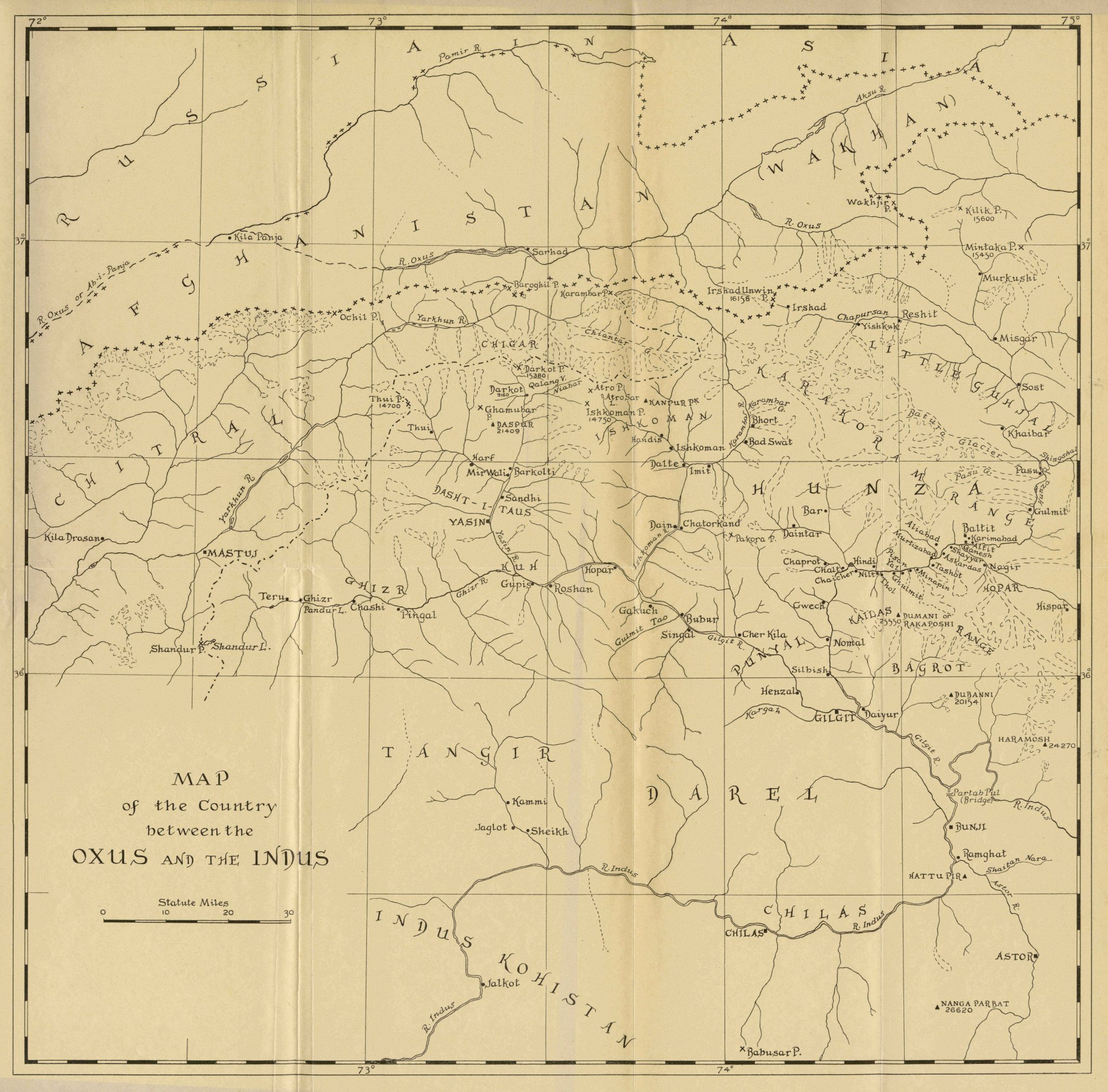 Map of the country between the Oxus and the Indus 1935