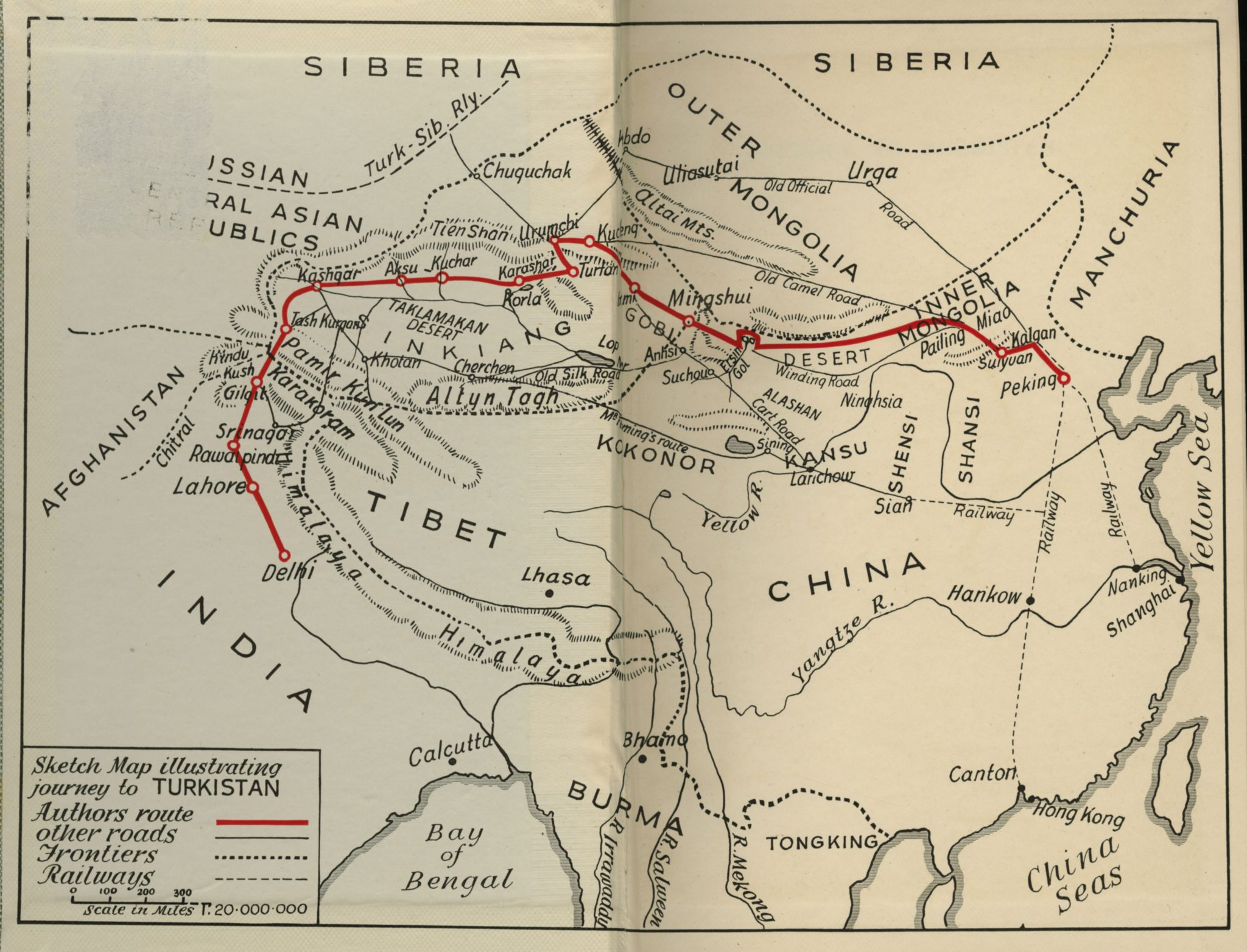 Sketch map illustrating journey to Turkistan 1937