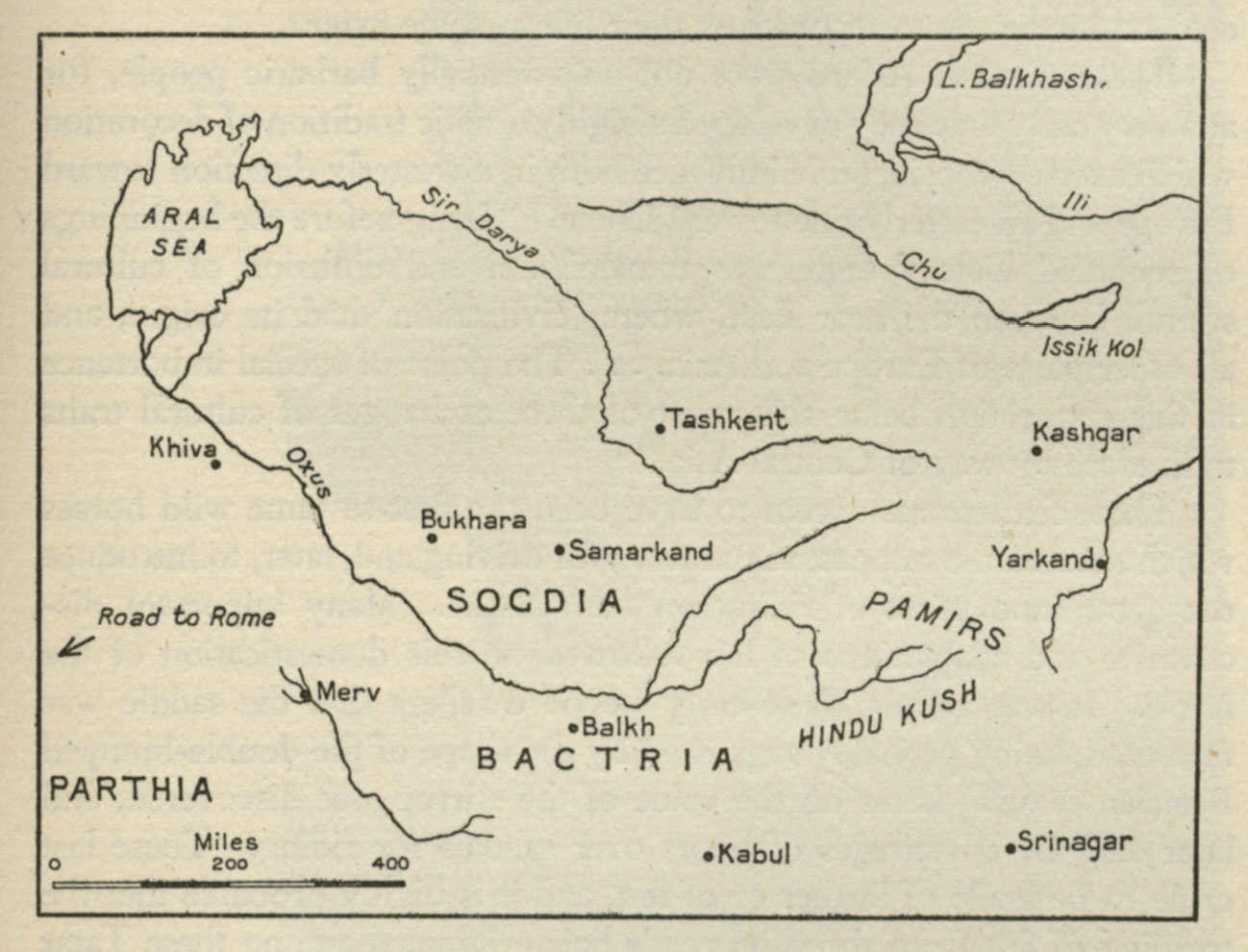 Map of Sogdia, Bactria, Parthia, Pamirs, the Aral Sea, etc. 1942