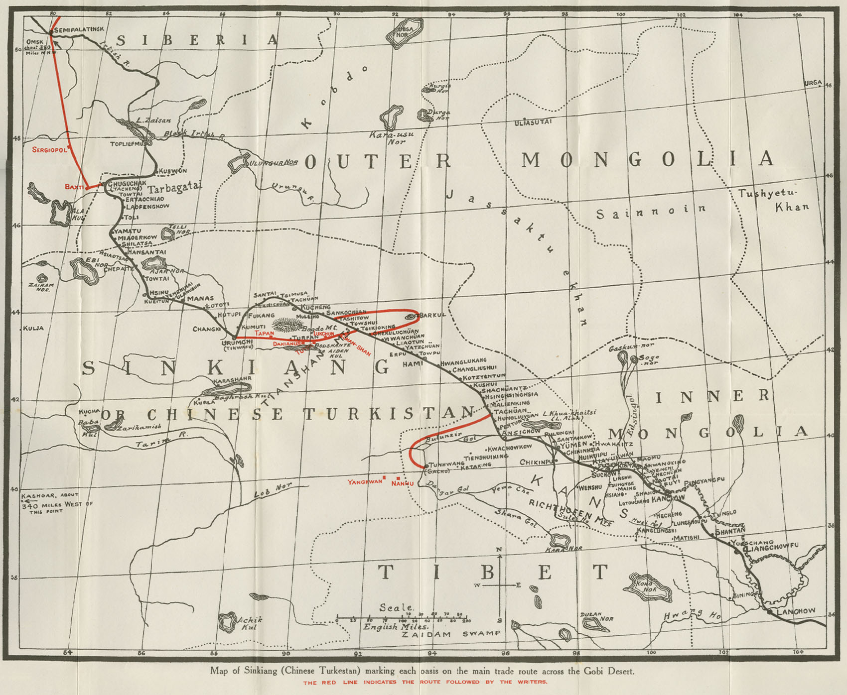 Map of Sinkiang (Chinese Turkestan) marking each oasis on the main trade route across the Gobi Desert 1934
