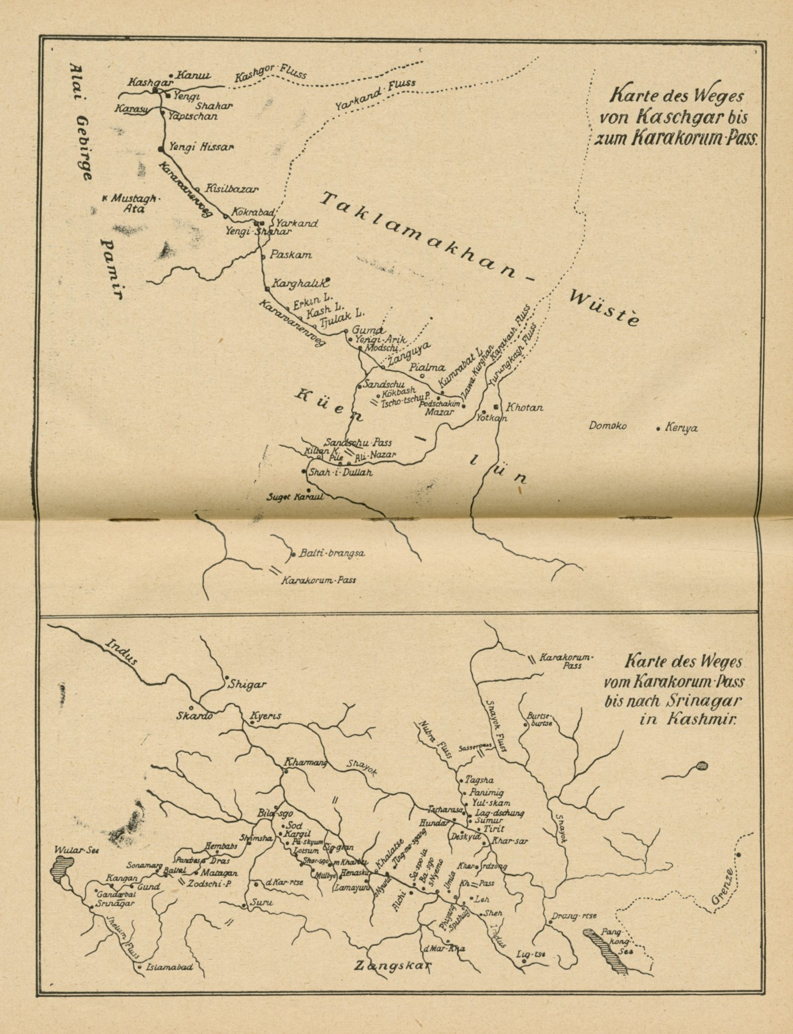 Map of the route from Kashgar to the Karakorum pass, and to Srinagar 1921