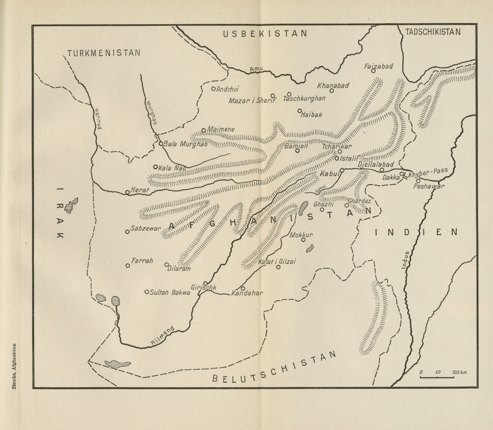 Map of Afghanistan 1939