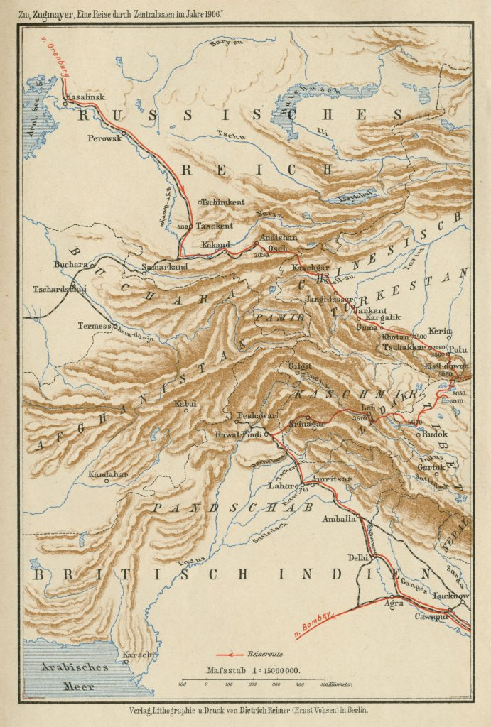 Map of Central Asia 1908