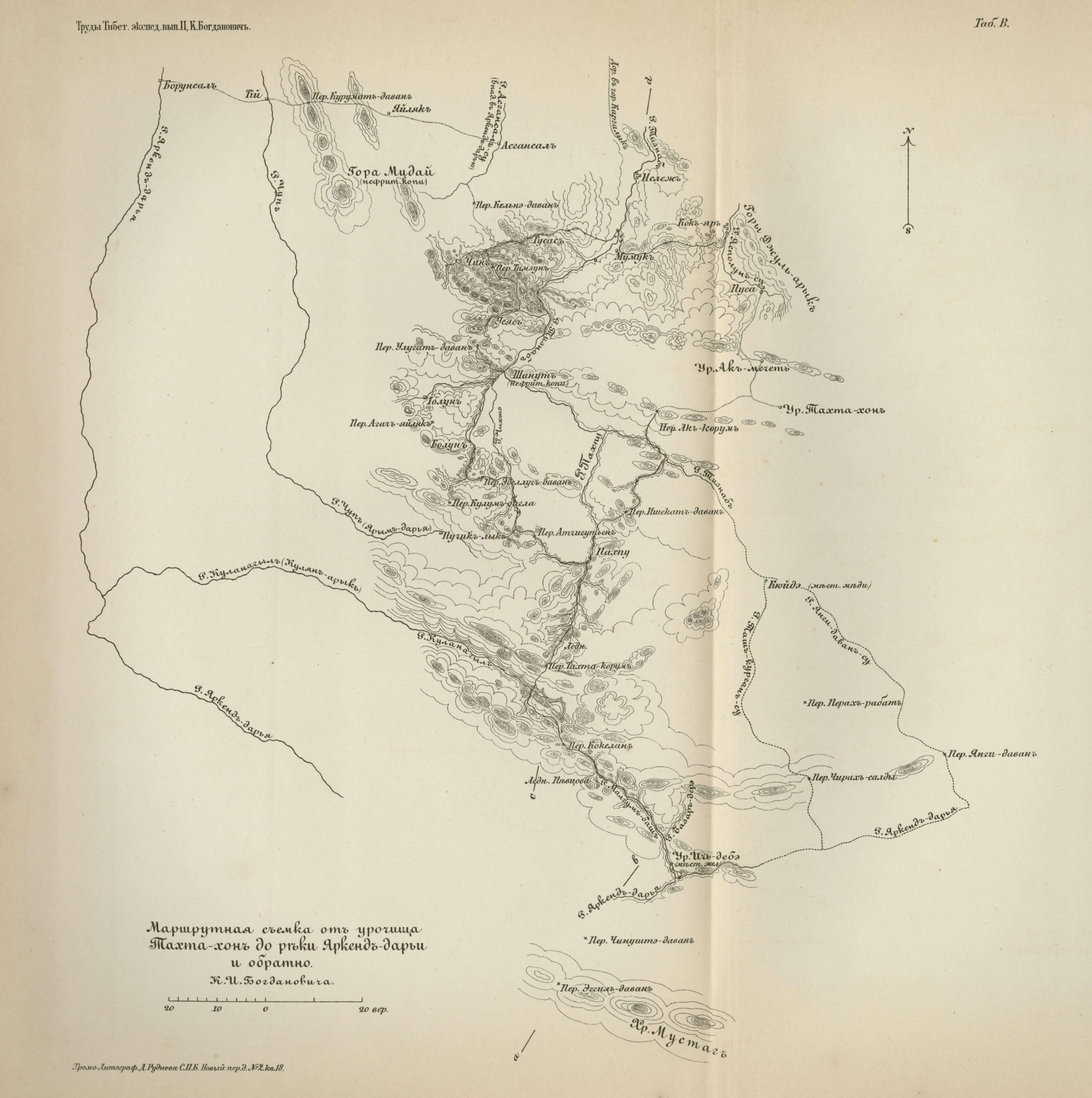 Route survey of the area surrounding Tahta Hon and the Yarkand River 1892