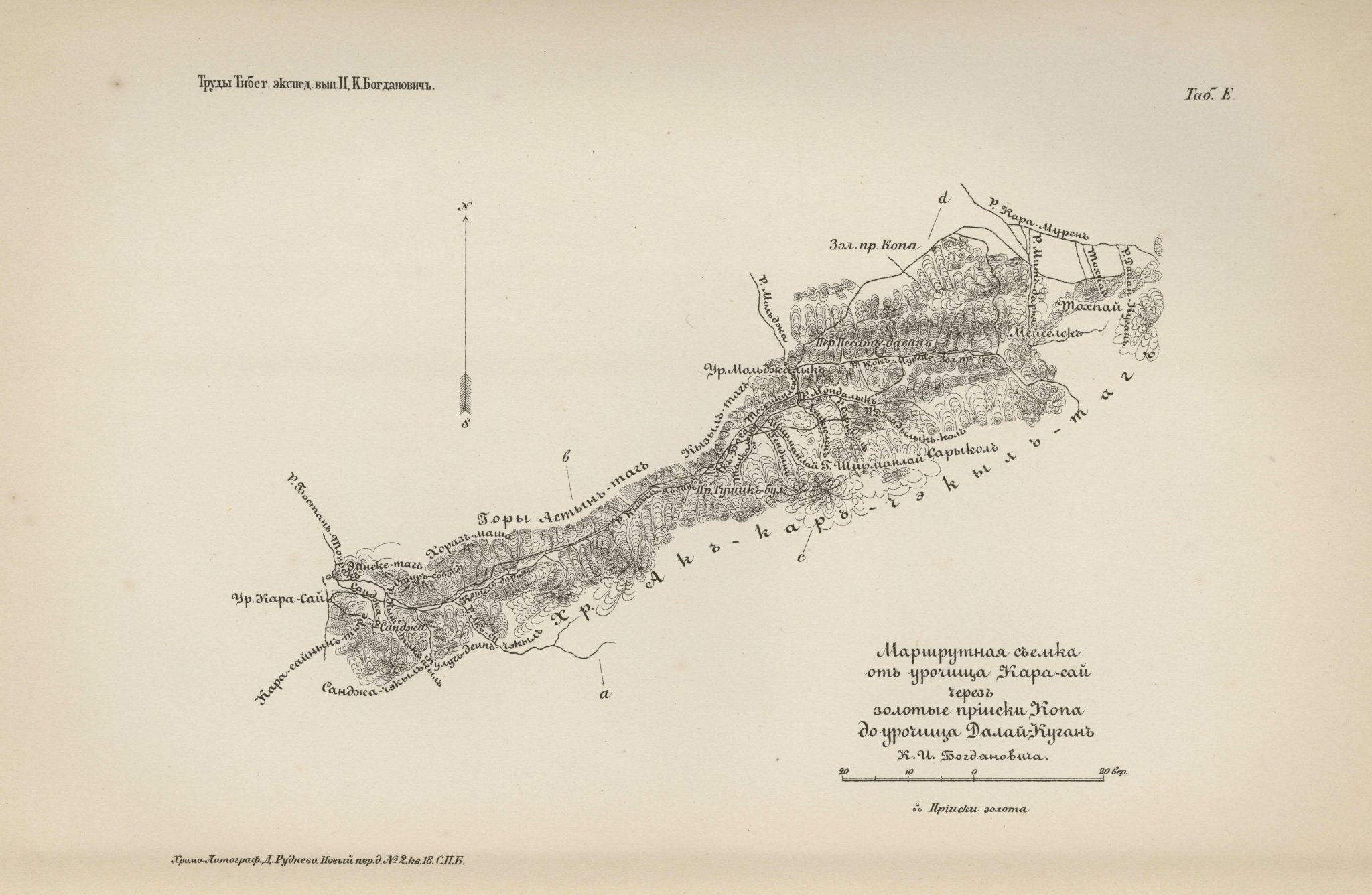 Route survey of Karasai, the Kopa gold mines and Dalai-Kurgan 1892