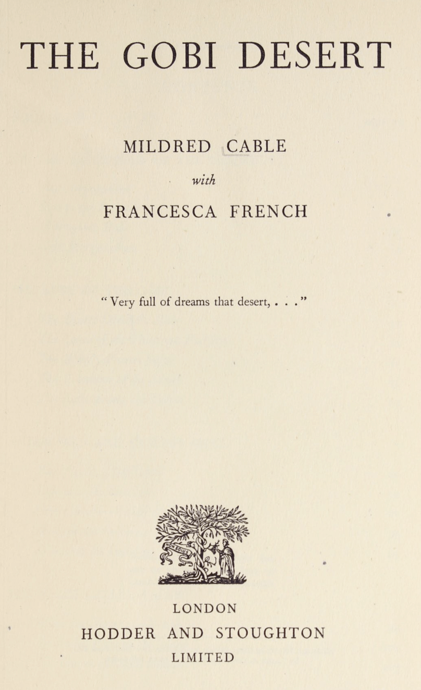 The Gobi Desert by Mildred Cable, Francesca French